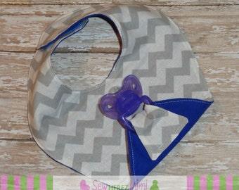 PACI BIB Gray Chevron Navy Flannel Binky Holder Bib Gender Neutral Boy or Girl PREEMIE Infant Toddler