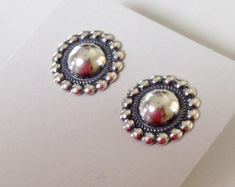 Native American Navajo  Sterling Silver Dome Post Earrings