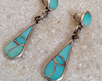 Native American Zuni Old Pawn Turquoise Sterling Channel Inlay Post Dangle Earrings  Signed L F