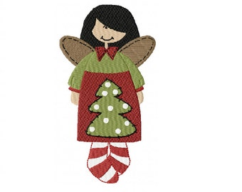 Merry Christmas - Xmas Dolly Angel with Candy Cane Socks ~ Machine Embroidery Design in 2 sizes ~ Instant Download