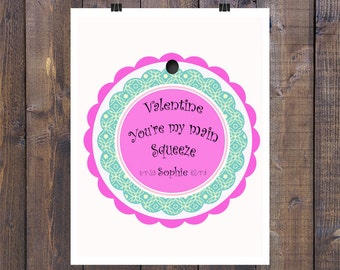 Personalized 2 inch Valentine Gift Tag - Print at home after ordered