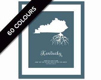 Kentucky Roots - State Map Art Print - Kentucky Map - Geography Poster - Kentucky Art Print - Kentucky Poster - Travel Art  - Custom State