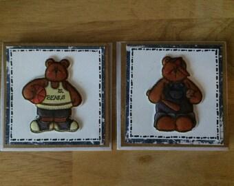 Set of 2 mini teddy bear cards - sport themed