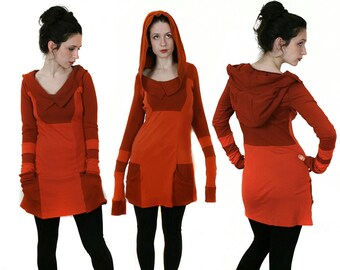 Custom Colors Hooded Pocket Dress - One of a Kind Upcycled Recycled - Colorblock - Extra Long Sleeves - OOAK