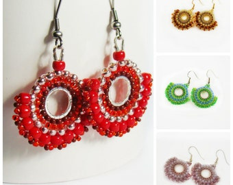 Mother's Day Gift Coworker gift Beaded embroidered earrings  Dangle earrings Seed bead Colored earrings Red Gold Violet Green Beadwork