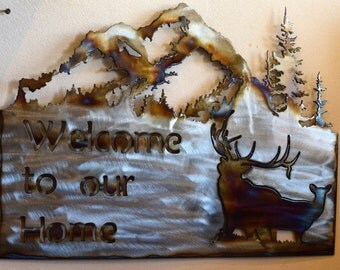 Welcome to our Home metal elk welcome sign elk sign