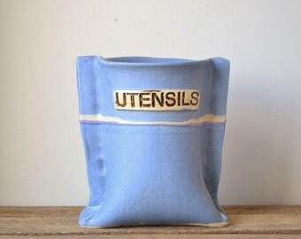 Vintage Blue 'Grain Sack' Stoneware Kitchen Utensils Holder