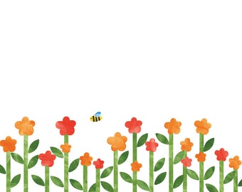 Spring Flower Wall Decals - Flower Fabric Wall Decals
