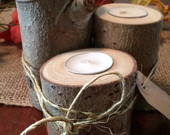 Set of 3 Rustic Aspen with Bark Candleholders!