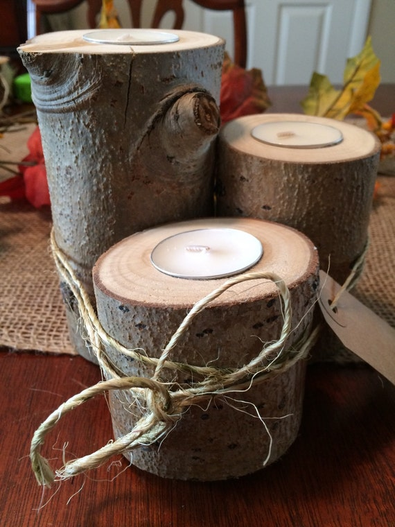 Set of 3 Rustic Aspen with Bark Candleholders!