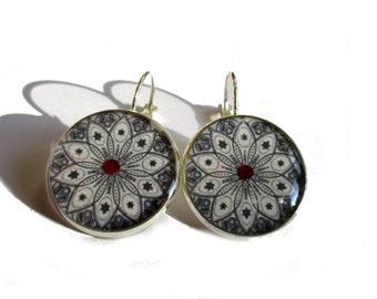 Mandala Dangle Earrings, Black and white earrings, ornament earrings, mandala jewelry, indian jewellery, gift for her