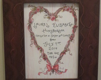 Heart with Roses Birth Certificate