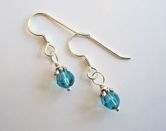 Pacific Blue Swarovski 6mm Crystal Earrings