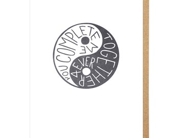 You Complete Me Yin-Yang Letterpress Card