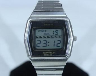 Rare Vintage 1970 Men's Seiko LC 0139 Dual Time Zone Quartz LCD Watch