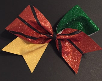 3in. Glitter Basketball Cheer Bow - choose your teams colors