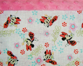 Nap Mat Cover / Toddler Cot Cover with Padded Minky Dot Headrest - Minnie Mouse