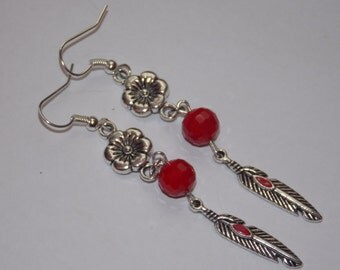 Red Feather and Flower Dangle Earrings