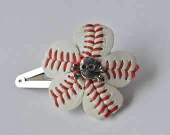 Pirate Baseball Hair Clip Made from a Retired Game Ball