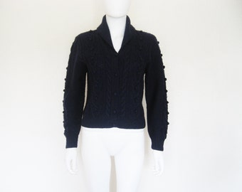 Navy Blue Wool popcorn cable knit Cardigan Sweater / vintage clothing