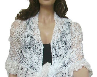 Snow White Shawl, Ruffle Bridal Shawl, Scarf, Hand knit, Bridal Wrap, Lace, Ready to Ship, Express Delivery