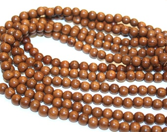 6mm Ironwood Natural Wood Beads 16 inch Strand, 72 Beads for Mala Necklaces