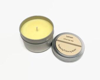 lemon candle, lemon scented candle, lemon soy candle, lemon candle tin