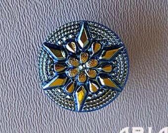 CZECH GLASS BUTTON: 22mm Star Flower Handpainted Czech Button, Pendant, Cabochon (1)