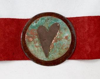 red suede copper cuff bracelet