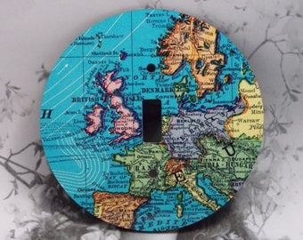 Round Map Toggle Light Switch Cover - Blue Maps UK and Ireland