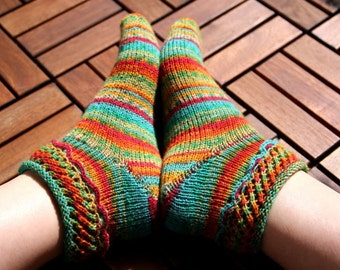 Sock knitting pattern PDF download for beginners and advanced knitters, instant download