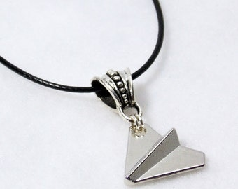 One Direction 1D Paper Airplane Necklace -- Silver Charm Black Cord