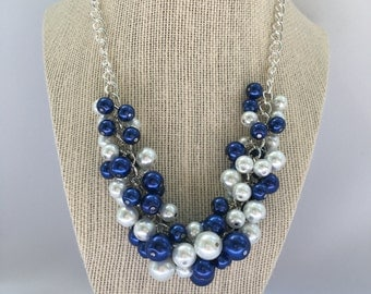 Michael - Penn State Cluster Necklace, White and Blue Bauble Necklace, White and Blue pearl necklace, Bauble necklace, Cluster Necklace