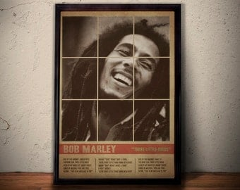 BOB MARLEY Poster Print * Retro Vintage Quote Lyrics Poster * Don't Worry Be Happy Three Little Birds * Gift For Him Gift For Her