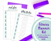 Fitness Planner Kit, Bluebird theme, Meal planner, fitness tracker