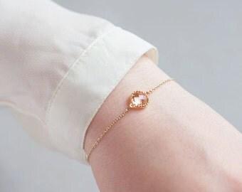 Simple Minimal Layering Gold Bracelet-Dainty Delicate Gold Bracelet-Champagne Gold Bracelet-Layering Gold Bracelets-Champagne Gold Bracelet