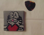 Handmade Nermal Magnet, Garfield, Heart, Cat, Grey, Gray, Red, Black 2x2