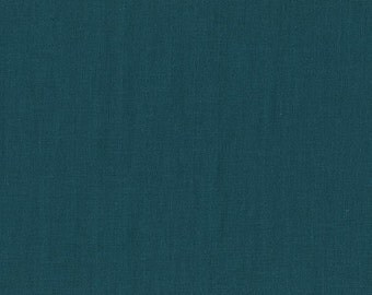 BeSpoke INDIGO Teal Blue Solid Double Gauze Lightweight Cotton and Steel Fabric BTY