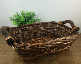 SALE! Brown Wicker Basket Tray with Wooden Handles - Handwoven