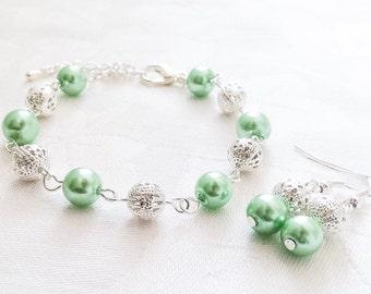 Mint Bracelet & Earrings Set Mint Green Jewelry Bridesmaid Jewelry Green Bracelet Wedding