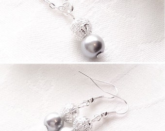 Grey Jewelry, Grey Pearl Jewelry, Gray Bridesmaid Necklace, Wedding, Bridesmaid Gift