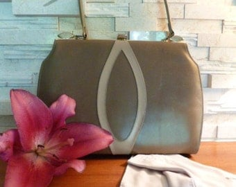 Ultra Modern 60s Bag/Purse, 1960s, Tan Leather with Modern Abstract Design on Front, Inside Pockets, Gold Tone Acents