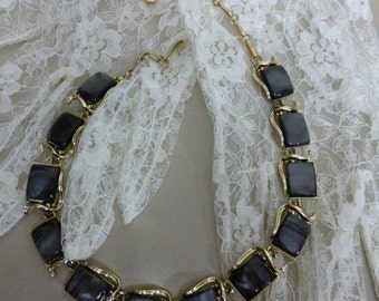 Coro Necklace, Black Themoset set in Silver Tone Metal, Signed Piece, 1950s, Pristine Condition, Great All Around Piece