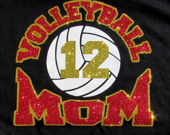 "VOLLEYBALL Mom Black Glitter Bling T-Shirt with ""VOLLEYBALL MOM"" in Sparkling Glitter with Your Players Number and Your Choice of Colors"