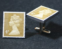 Great Britian 4p Postage Stamp Cufflinks FREE Gift Bag Wedding England English Queen UK