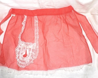 Vintage Sheer Red and White Nylon Dotted Swiss Hostess Apron White Lace One Pocket
