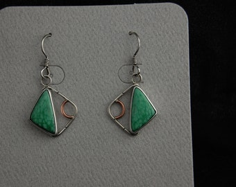 Variscite mixed metal dangle earrings