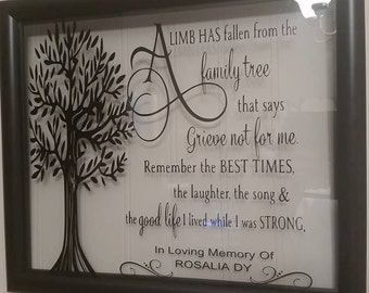 A limb has fallen from the family tree- In Memory Floating Frame