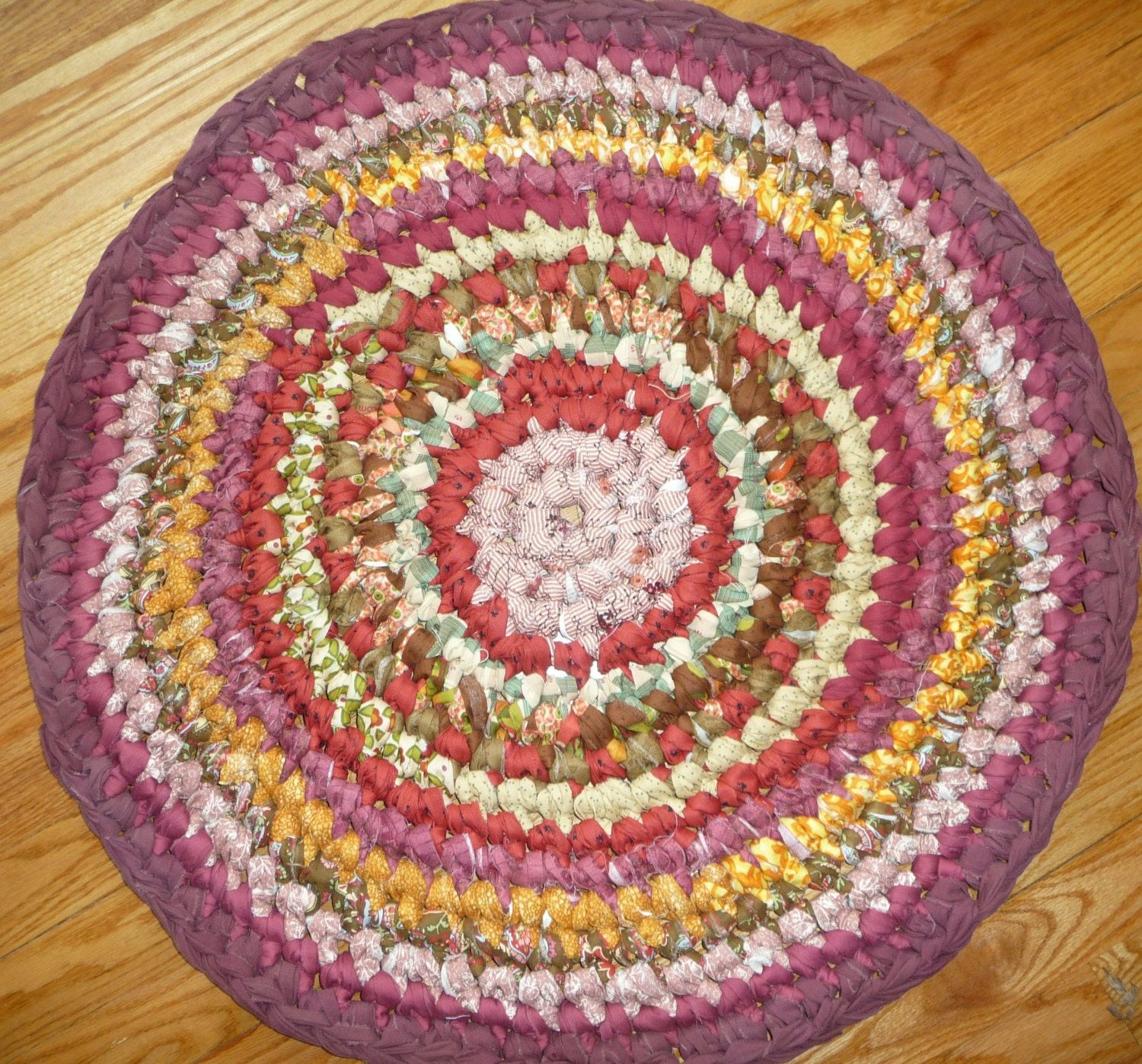 Rag Rug 29 Round Cotton Crochet Rug RV Rug Pet Mat