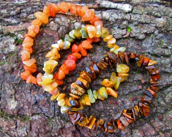 Natural Stone Bracelet, Stretch Bracelet, Metaphysical, Healing, Semi-Precious Stone Chip Jewelry, Tiger Eye, Golden Jade, Red Aventurine